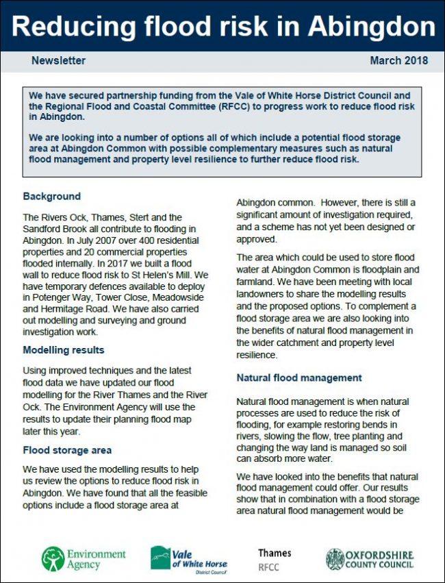 Download Abingdon Flood Alleviation Scheme Newsletter March 2018