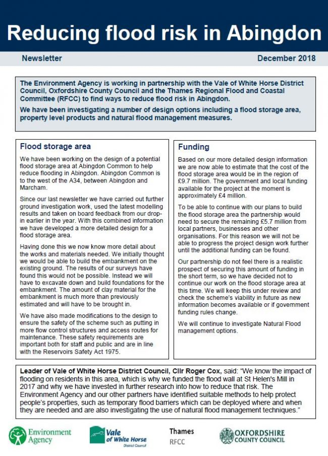 Download Abingdon Flood Alleviation Scheme Newsletter December 2018